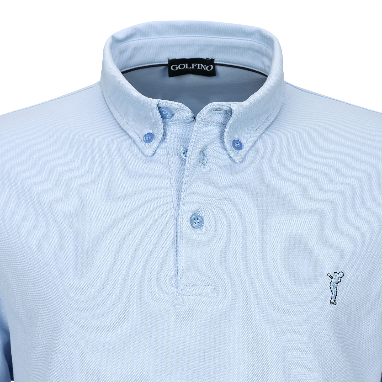 Langarm Button Down Herren Golfpolo mit Sun Protection in Regular Fit