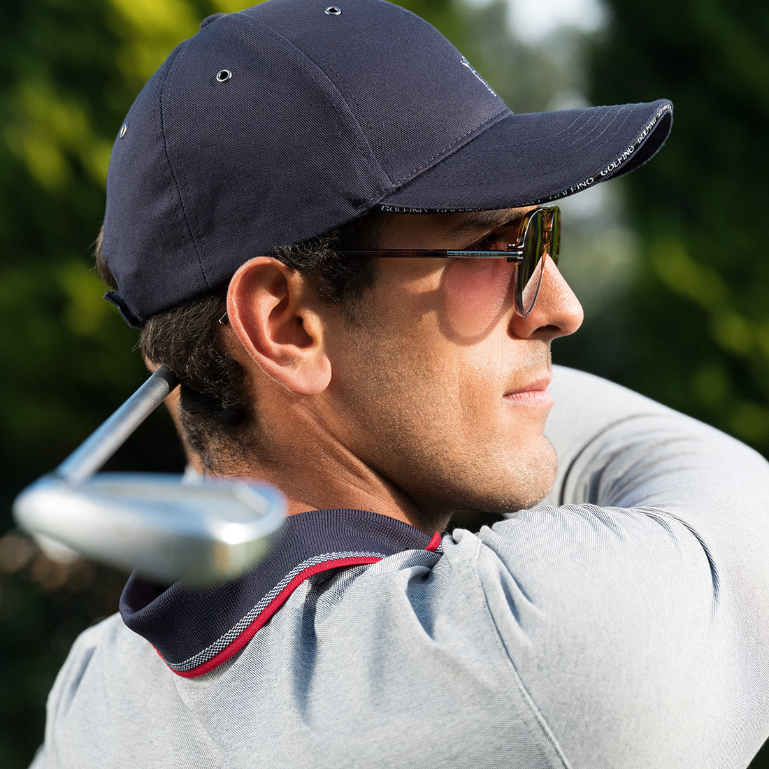 Atmungsaktives Herren Langarm Stretch-Golfpolo mit Sun Protection Funktion