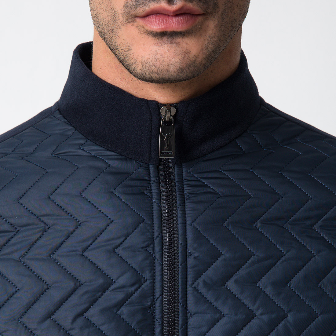 Men's Cold Protection quilted fleece jacket with microfibre material