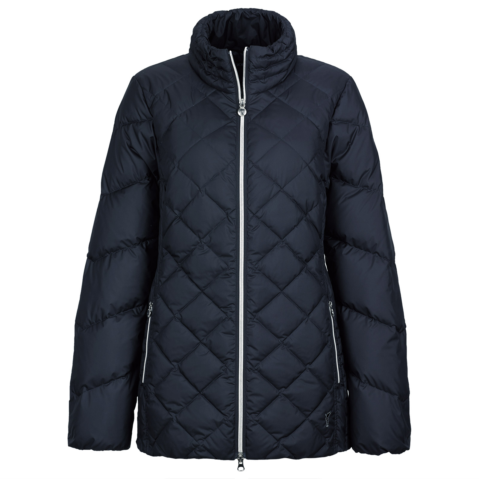 Ladies' padded jacket with down filling in mid-length fit