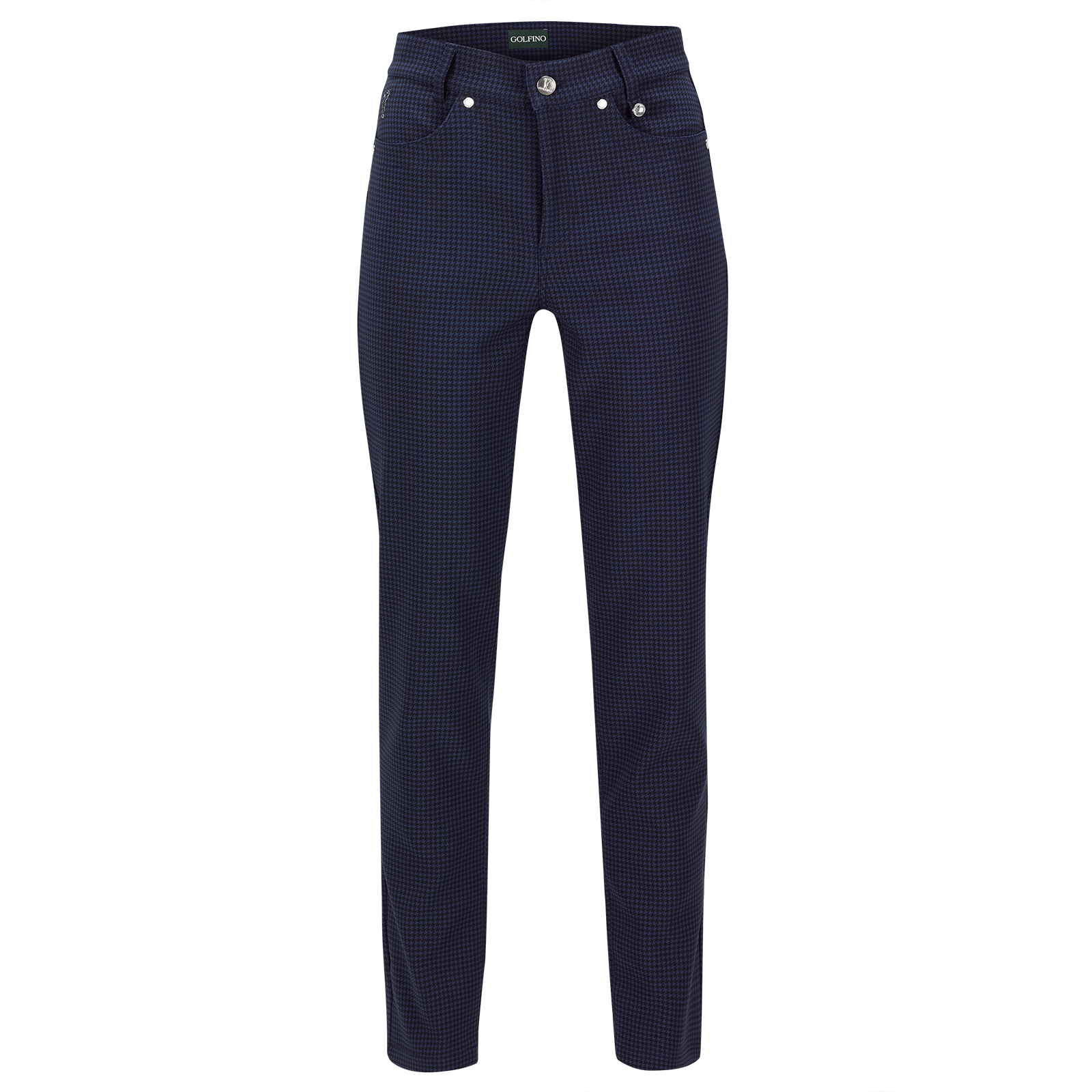 Ladies' 7/8 slim fit stretch trousers from functional material with stylish print