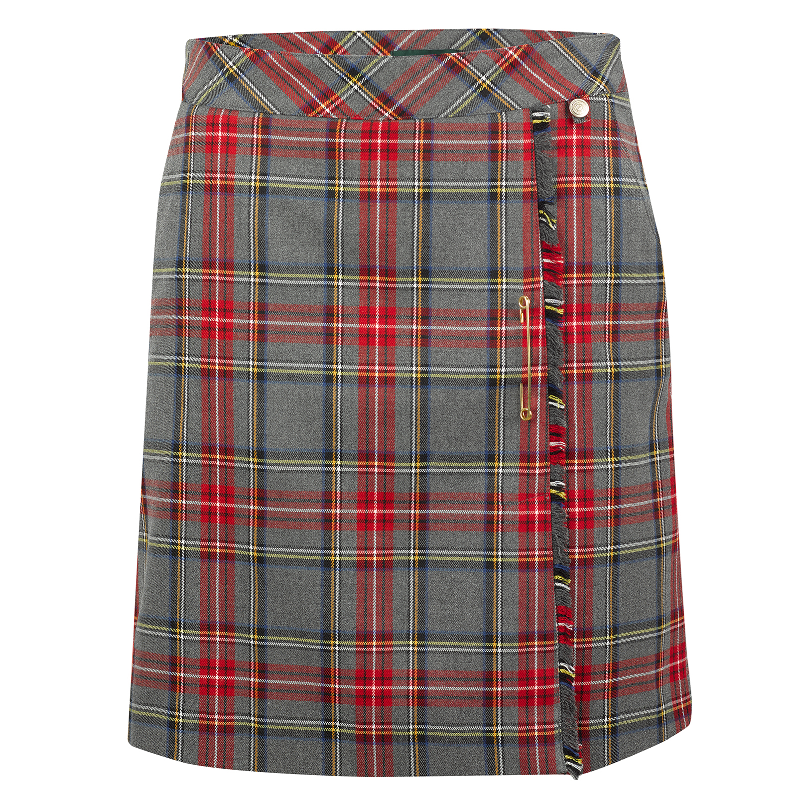 Longer checked ladies' golf skort from soft stretch material with interior shorts
