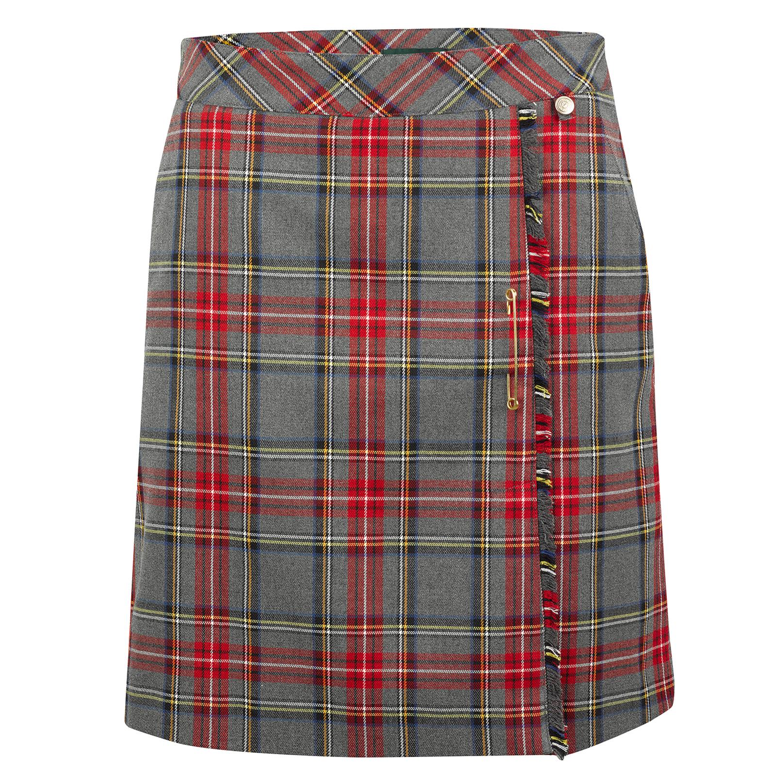 Falda pantalón larga de golf de cuadros de mujer hecha de un suave material elástico con pantalones interiores