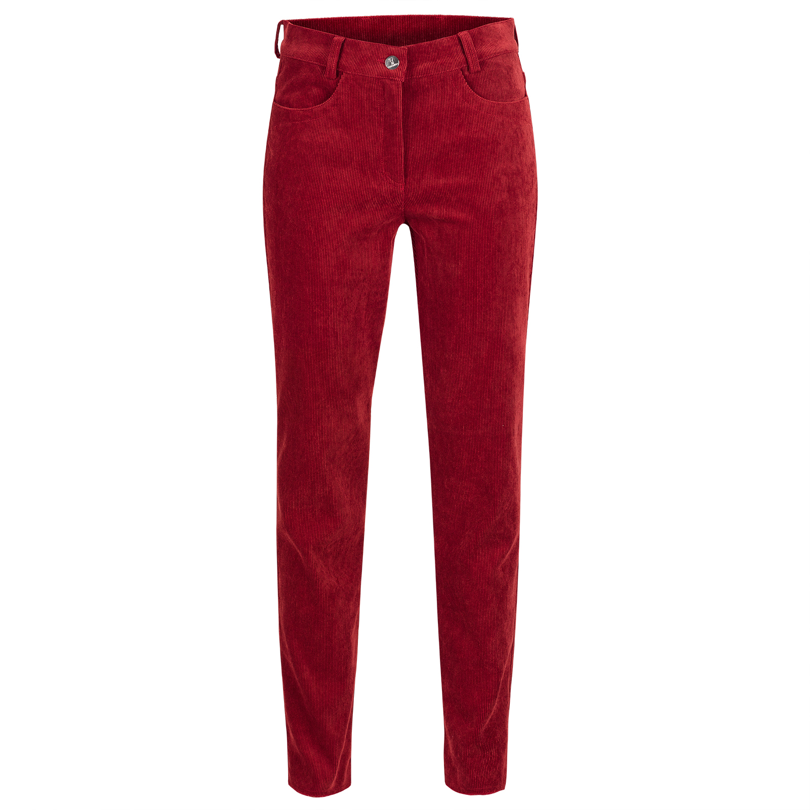 Ladies' 7/8 slim-fit designer cord golf trousers made from a soft cotton blend