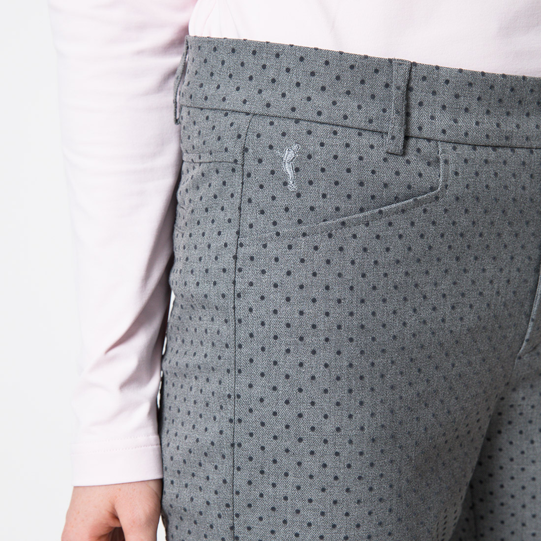 0f11bc64f7931 GOLFINO Pantalon de golf 7 8 en stretch Slim Fit pour femme à pois ...