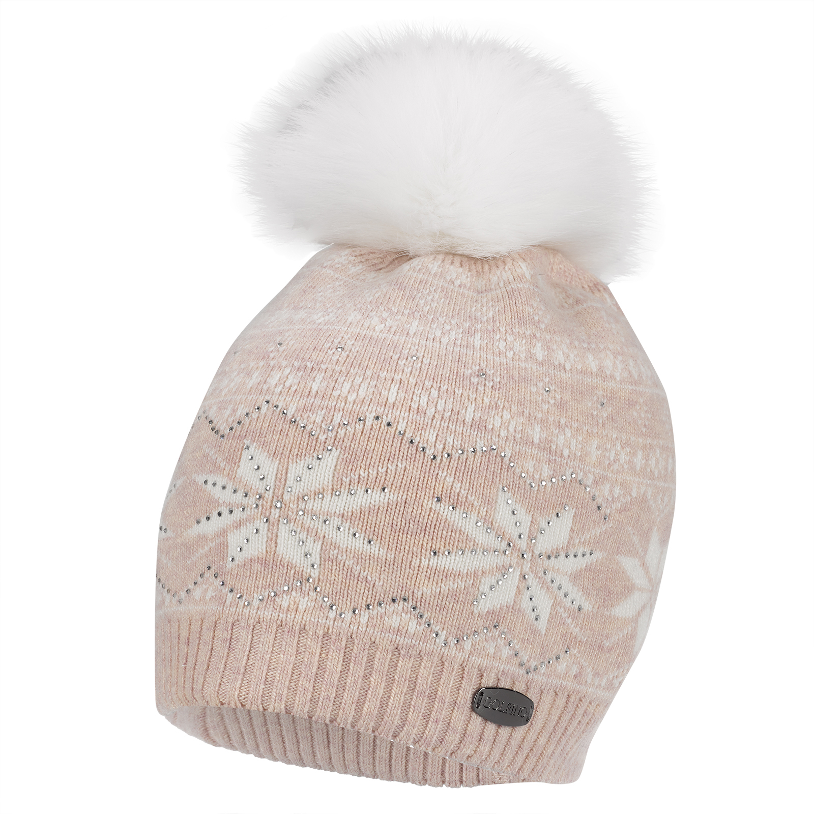 Ladies' knitted hat with classic winter pattern and real fur pompom