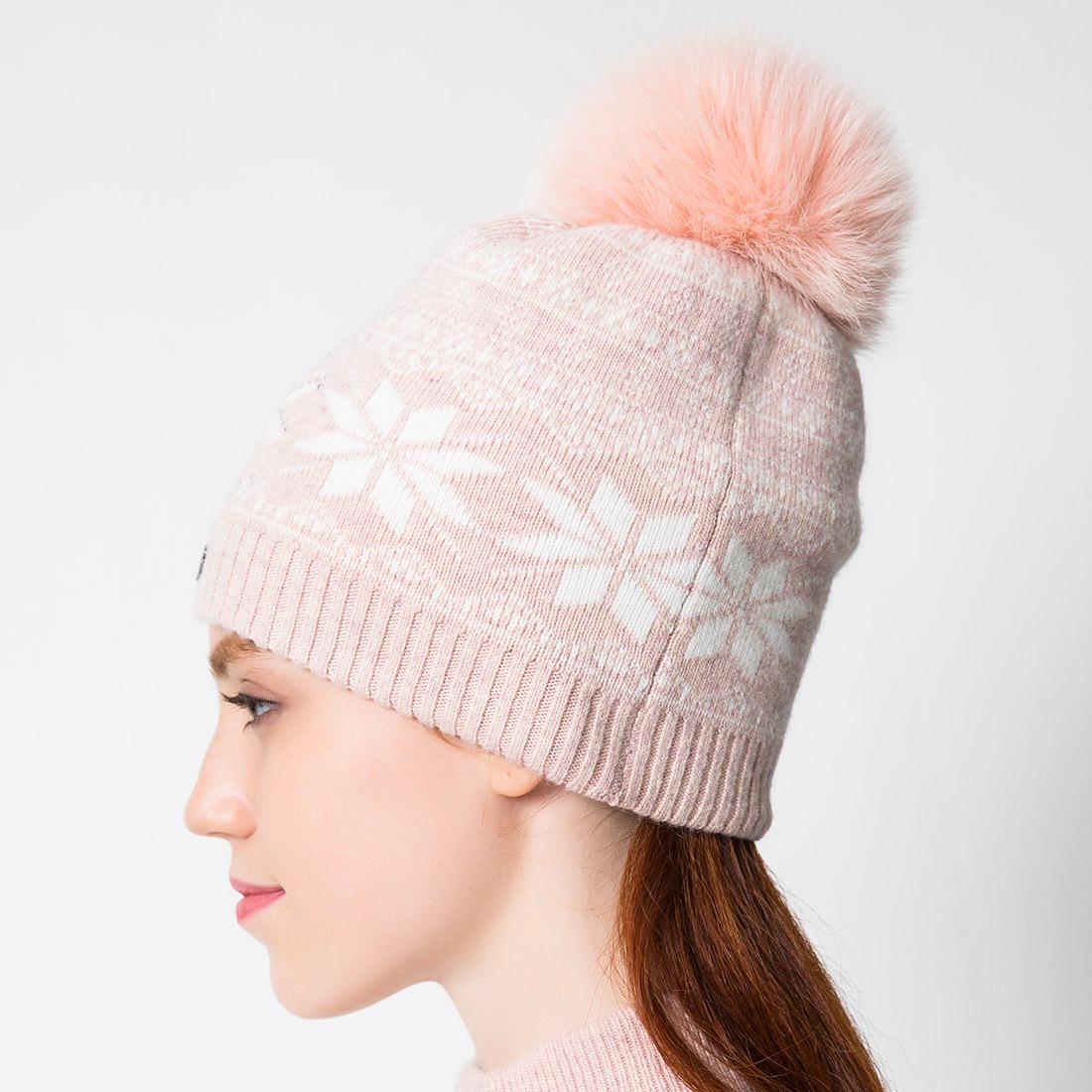 Damen Strickmütze mit klassischem Wintermuster und Echtfell Pompom