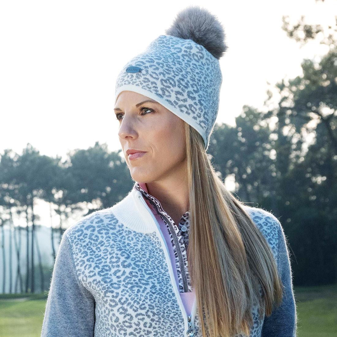 Damen Golfmütze mit Leopardenmuster und Echtfell Pompom