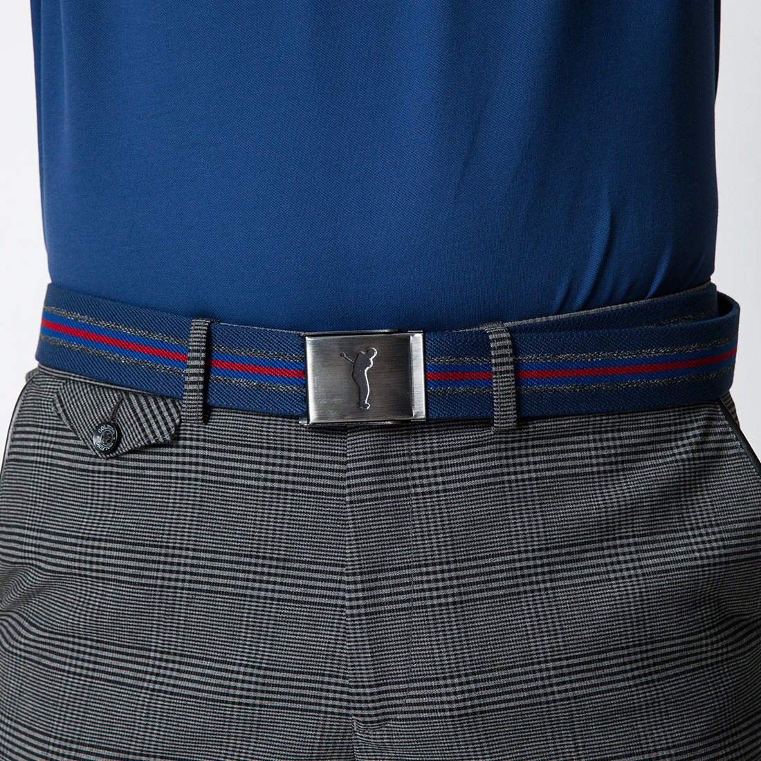 Herren Golfgürtel in modischem Streifendesign mit nickelfreier Klemm-Schnalle