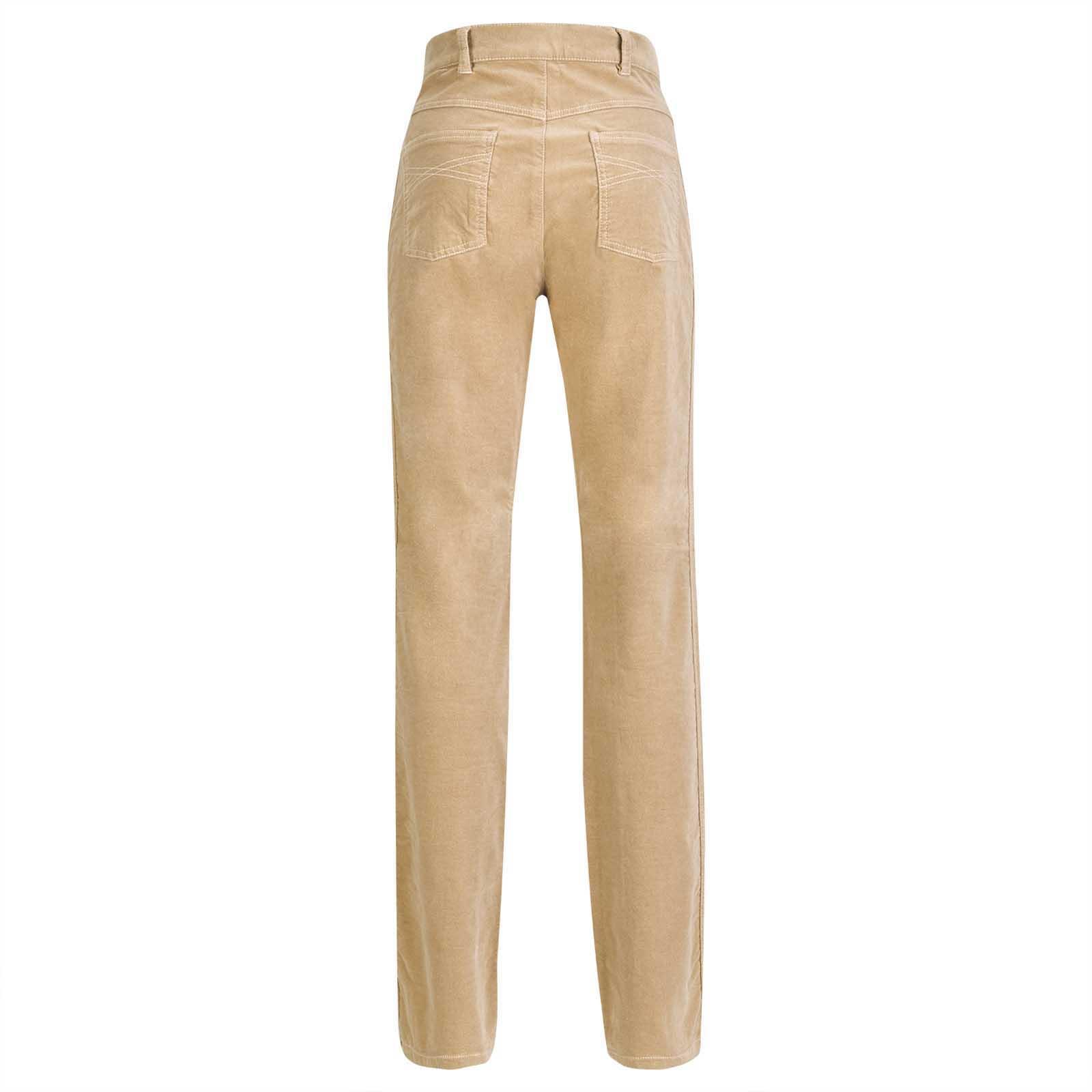 Gerade geschnittene 5-Pocket-Hose für Damen aus Stretch-Samt