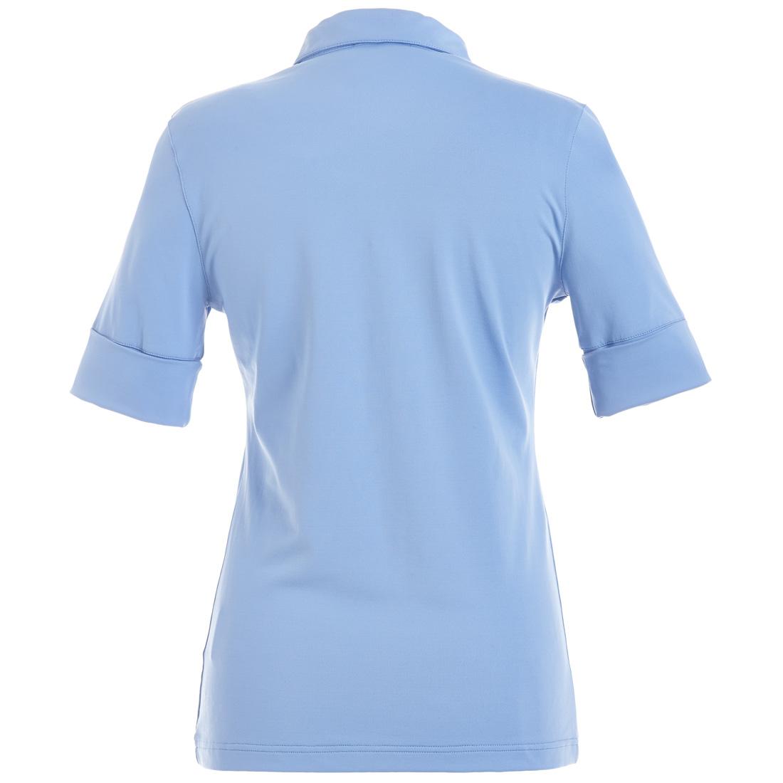Damen Dry Comfort Jersey Poloshirt mit gekrempelten Ärmeln