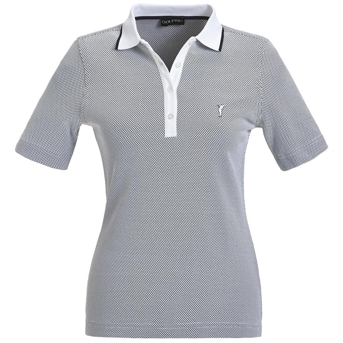 Damen Kurzarm Jacquard Poloshirt
