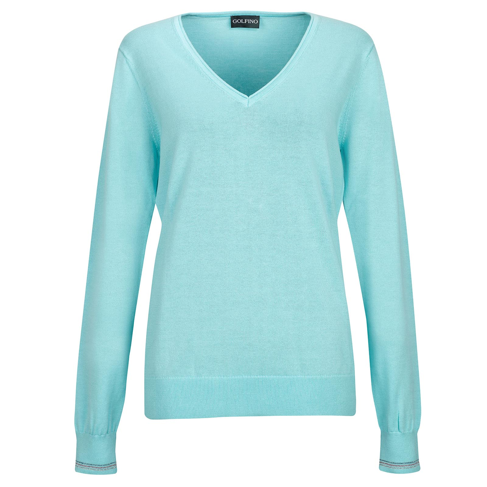 Ladies' knitted cotton pullover with shimmering details