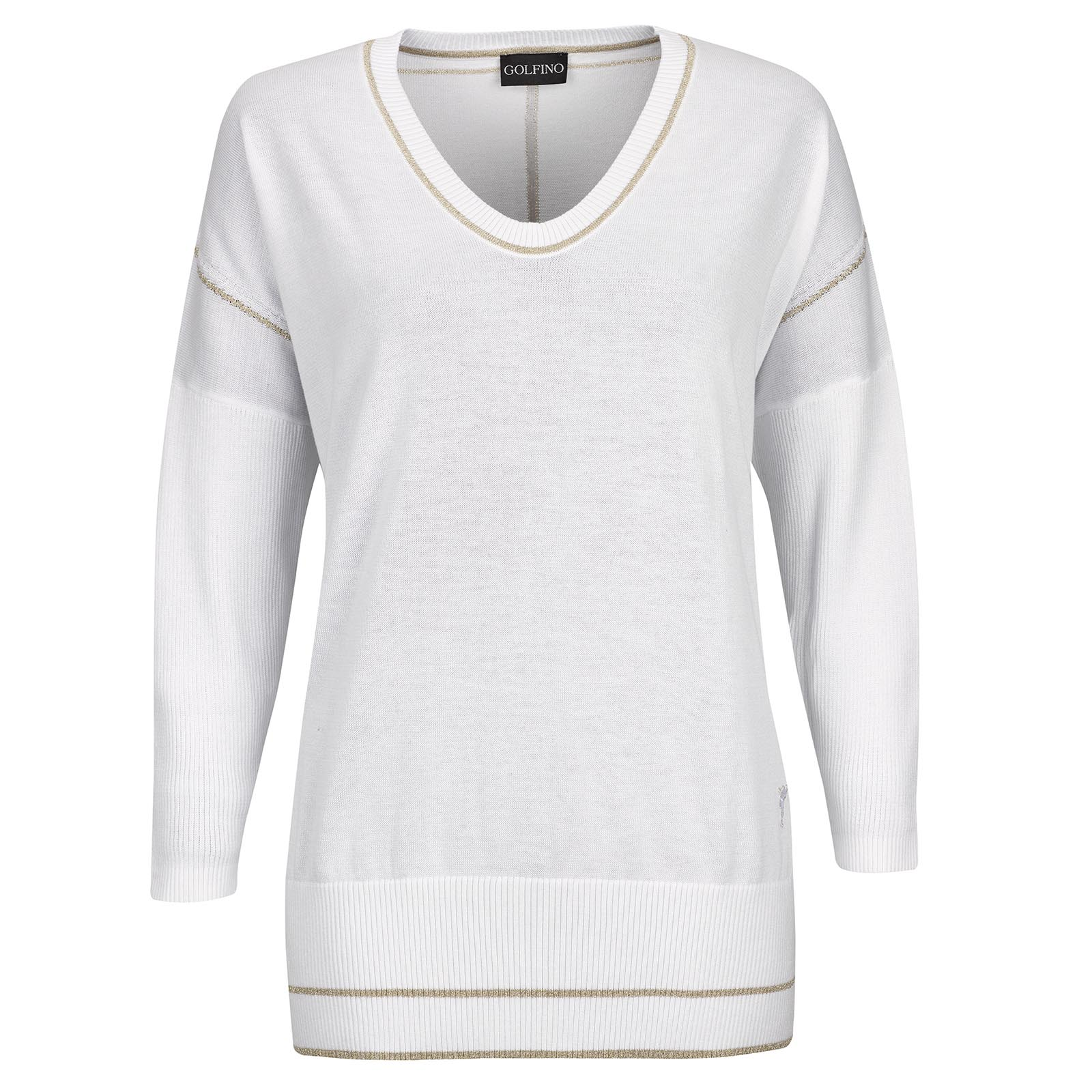 Ladies' Pima cotton v-neck pullover with gold details