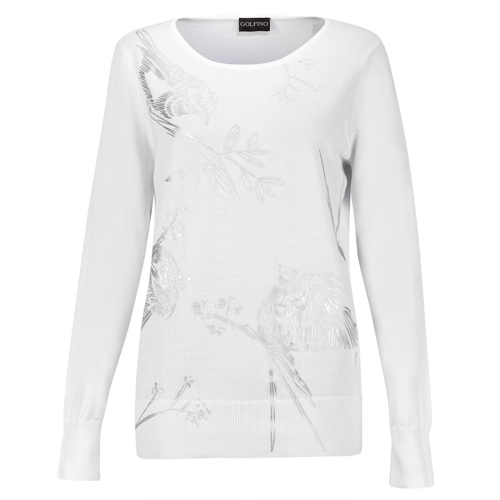 Rundhals Damen Strickpullover aus softer Pima Cotton mit silbernen Details