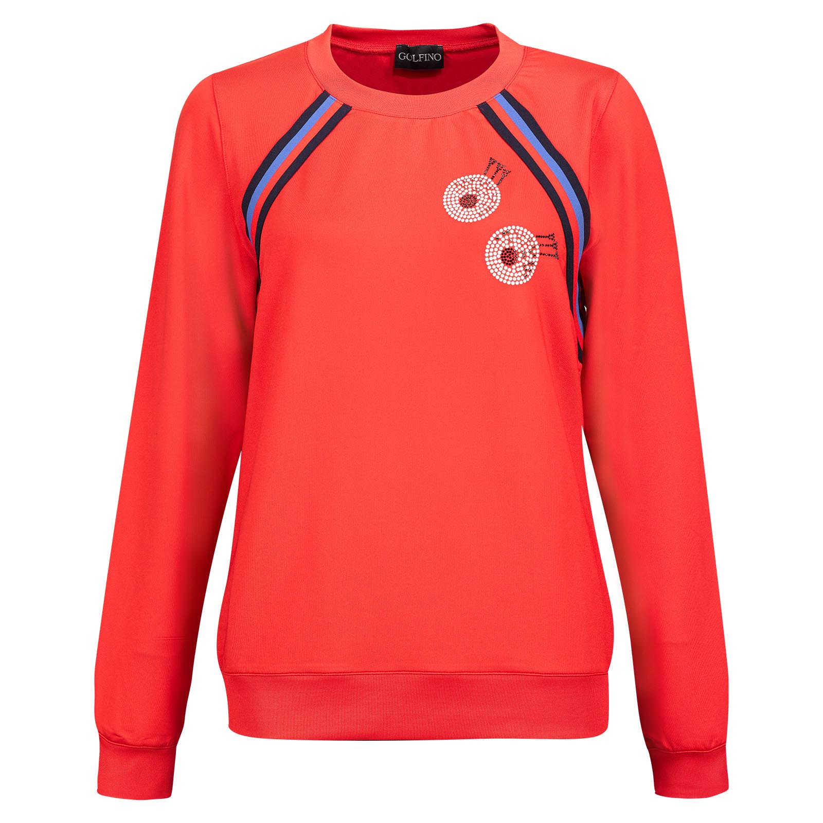 Damen Retro Sport Sweater mit Stretch Funktion und modischem Strass