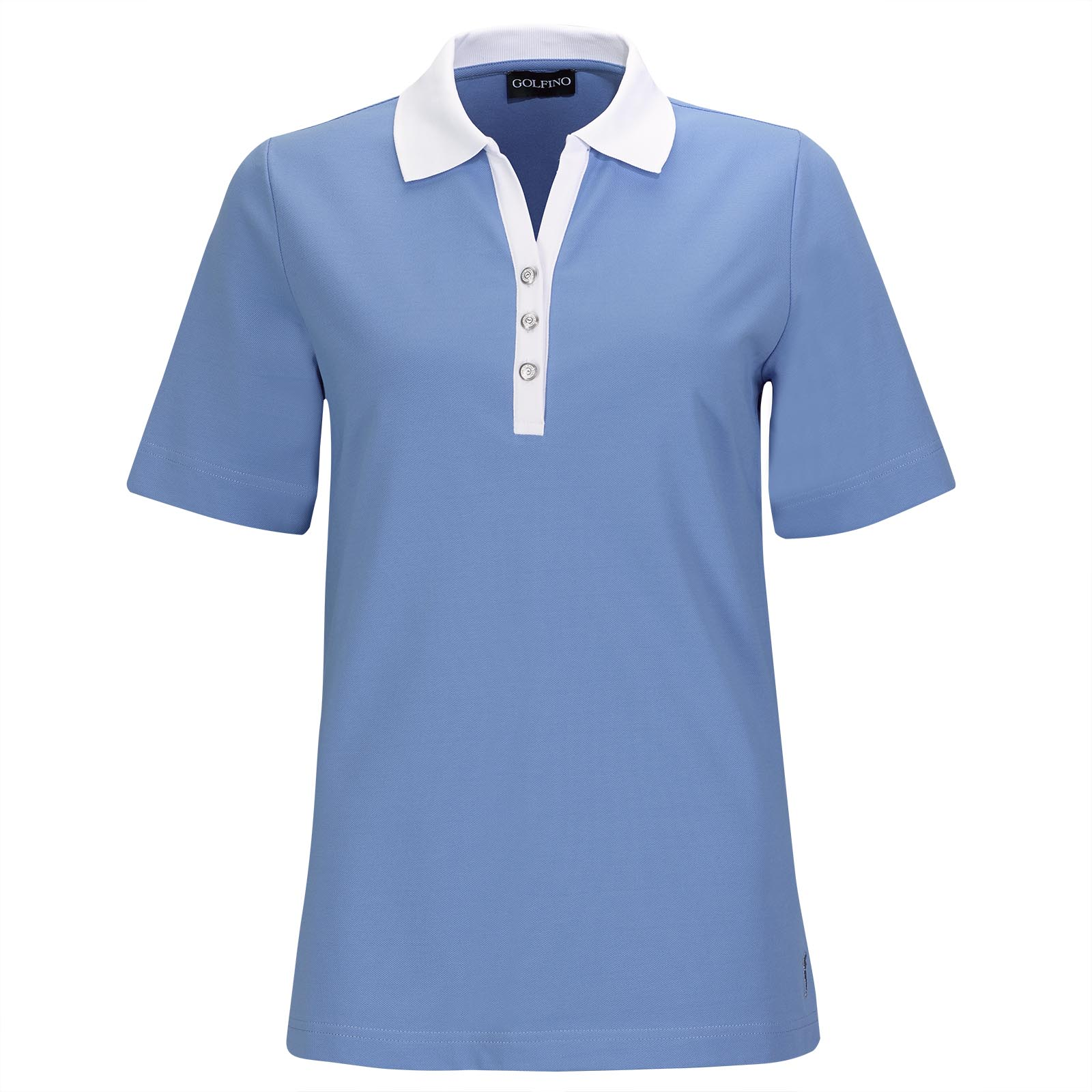 Short sleeve Ladies' golf polo with Sun Protection and deep cut