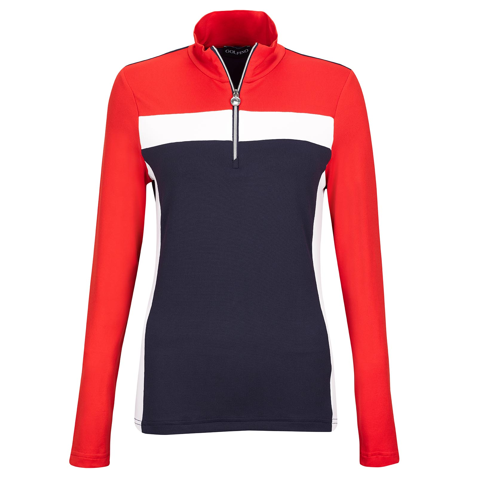 Ladies' long-sleeve functional golf troyer in Pro Look with Moisture Management