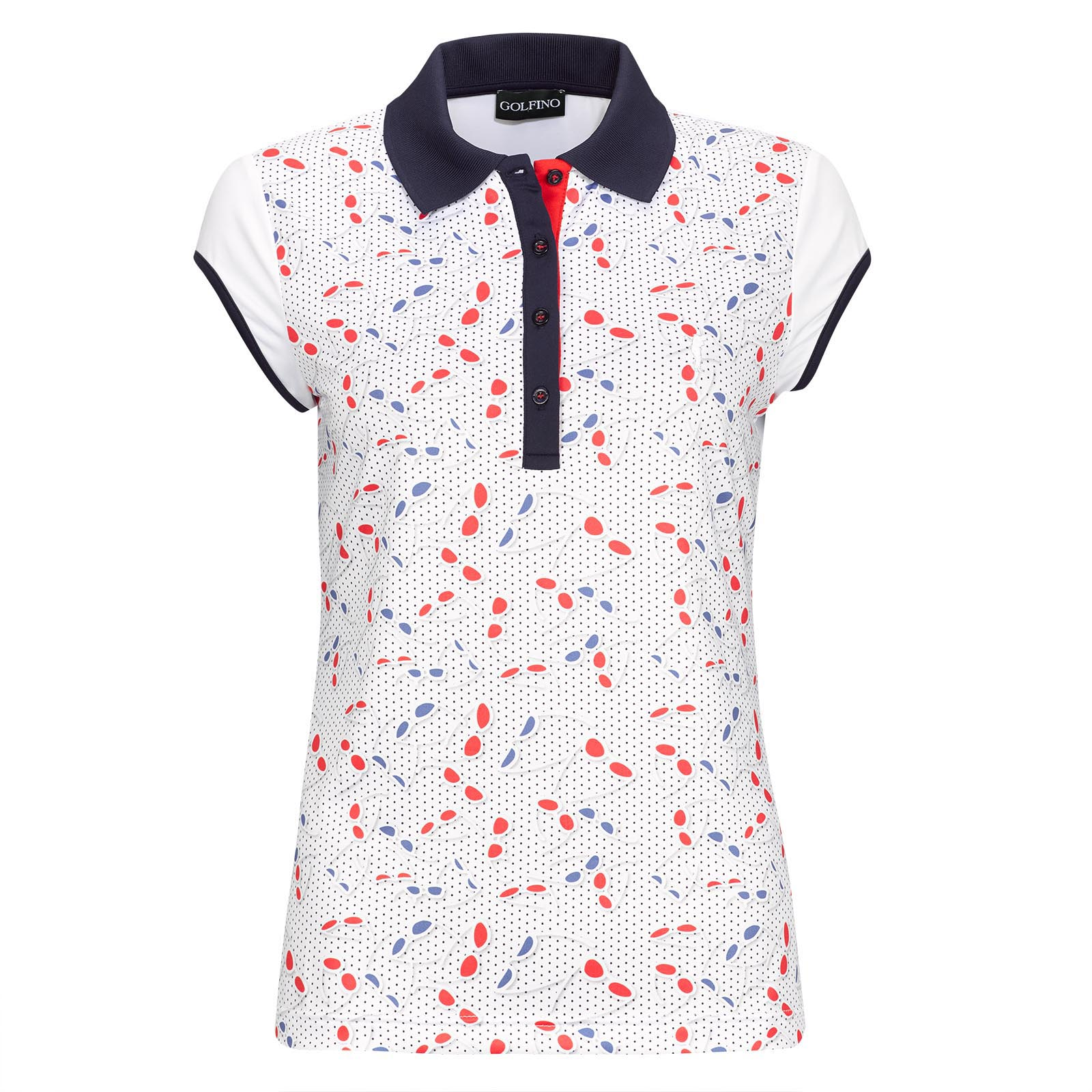 Polo de golf Dry Performance de mujer con mangas extracortas y un moderno estampado