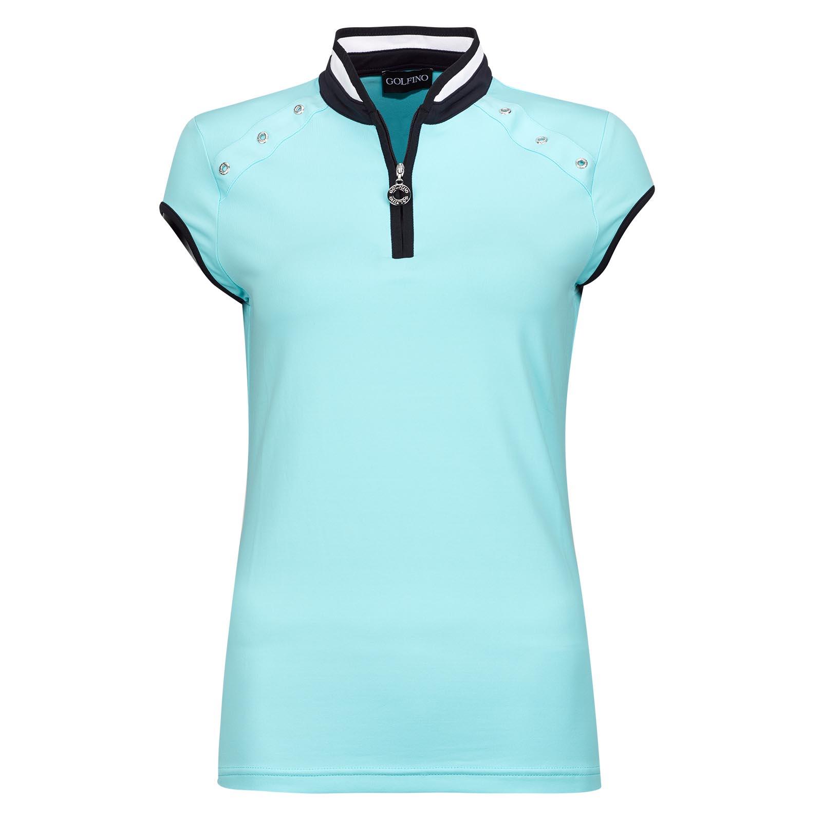 Jersey de golf con cremallera delantera Dry Comfort de mujer de fino jersey con ojales llenos de estilo