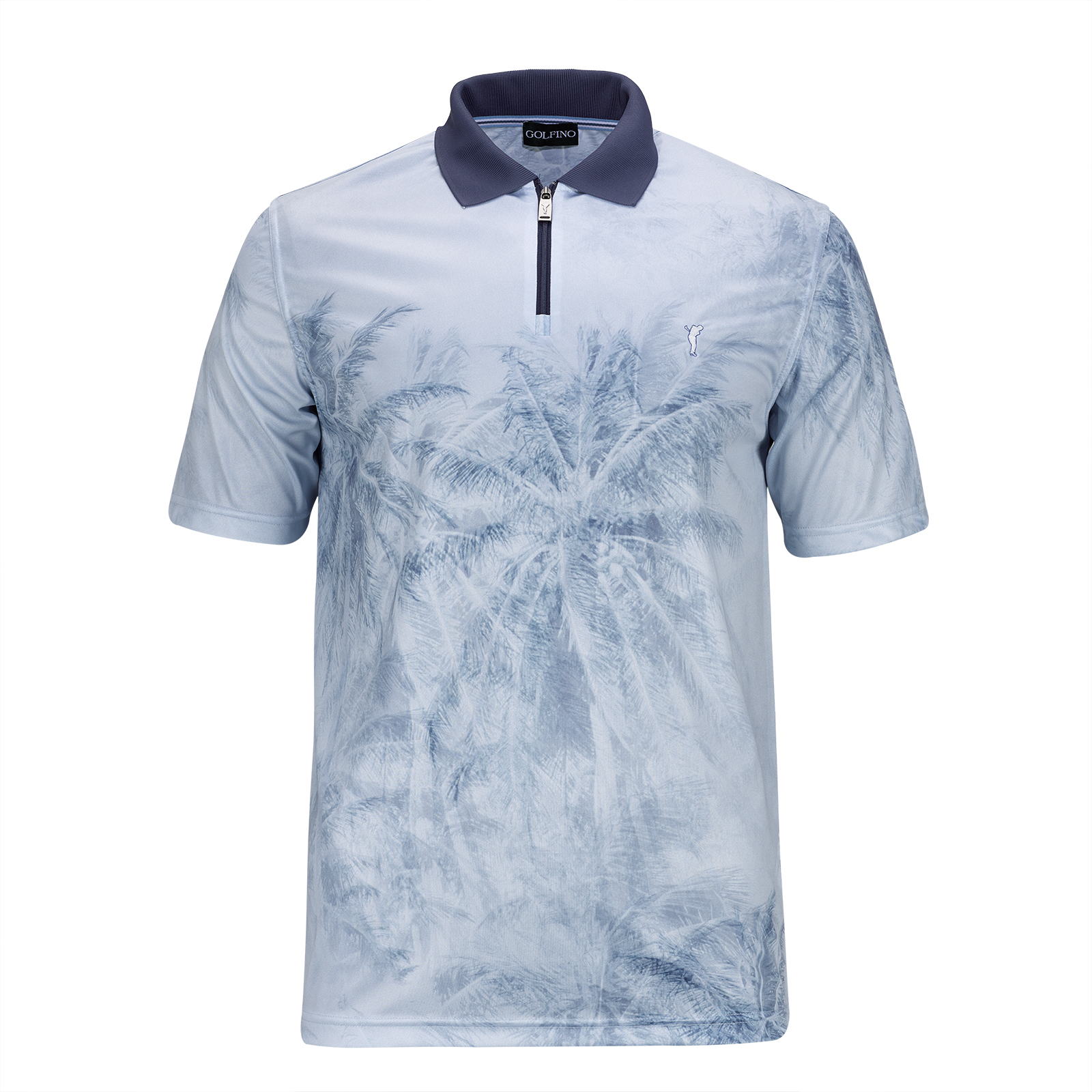 Men's functional golf polo statement print and zip