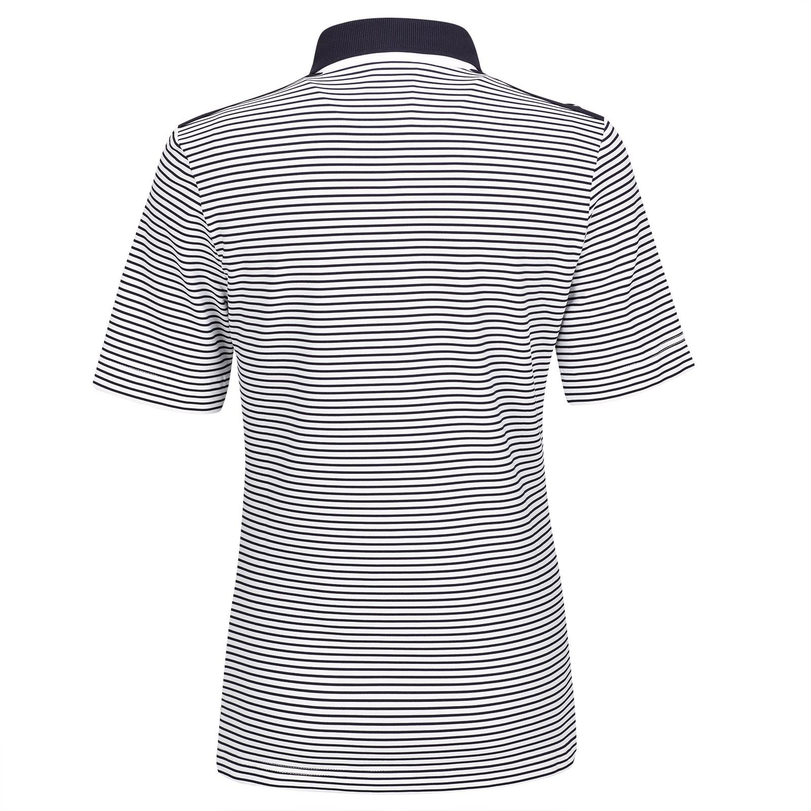 Kurzarm Damen Golfpolo Nautical Stripes mit Moisture Management