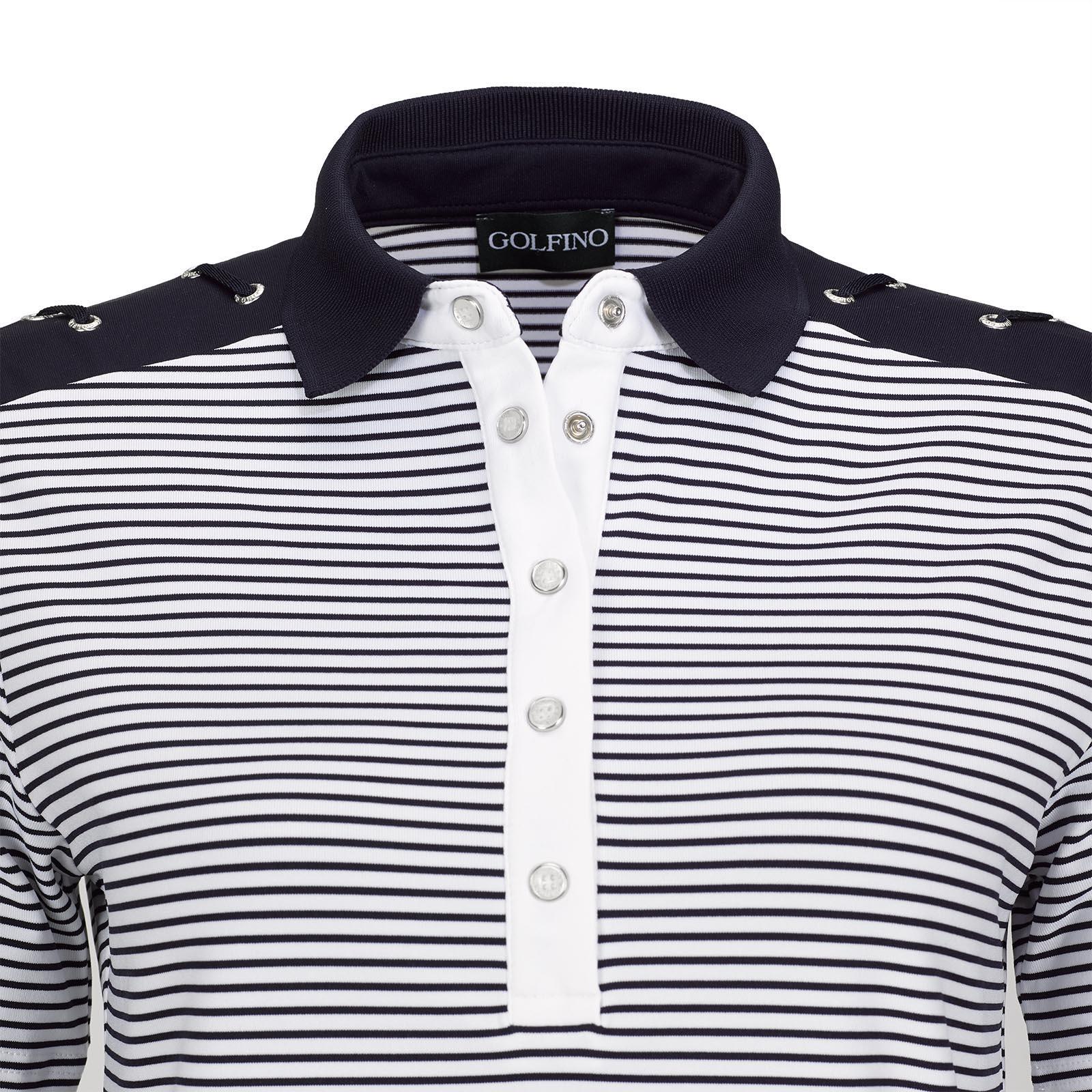 Kurzarm Damen Golfpolo Nautical Stripes mit Moisture Management