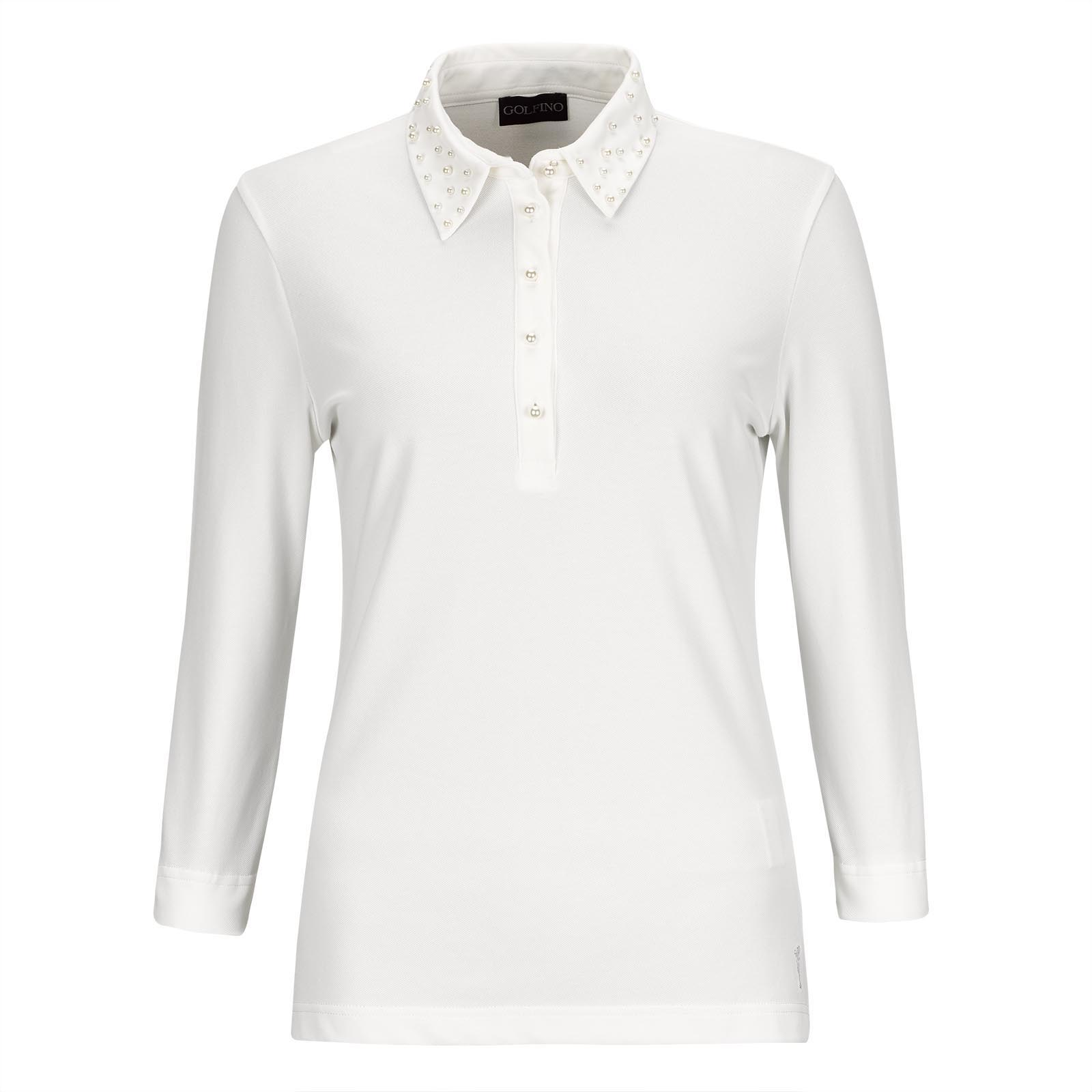 Cotton blend 3/4 sleeve Ladies' golf polo with Sun Protection and pearl trim