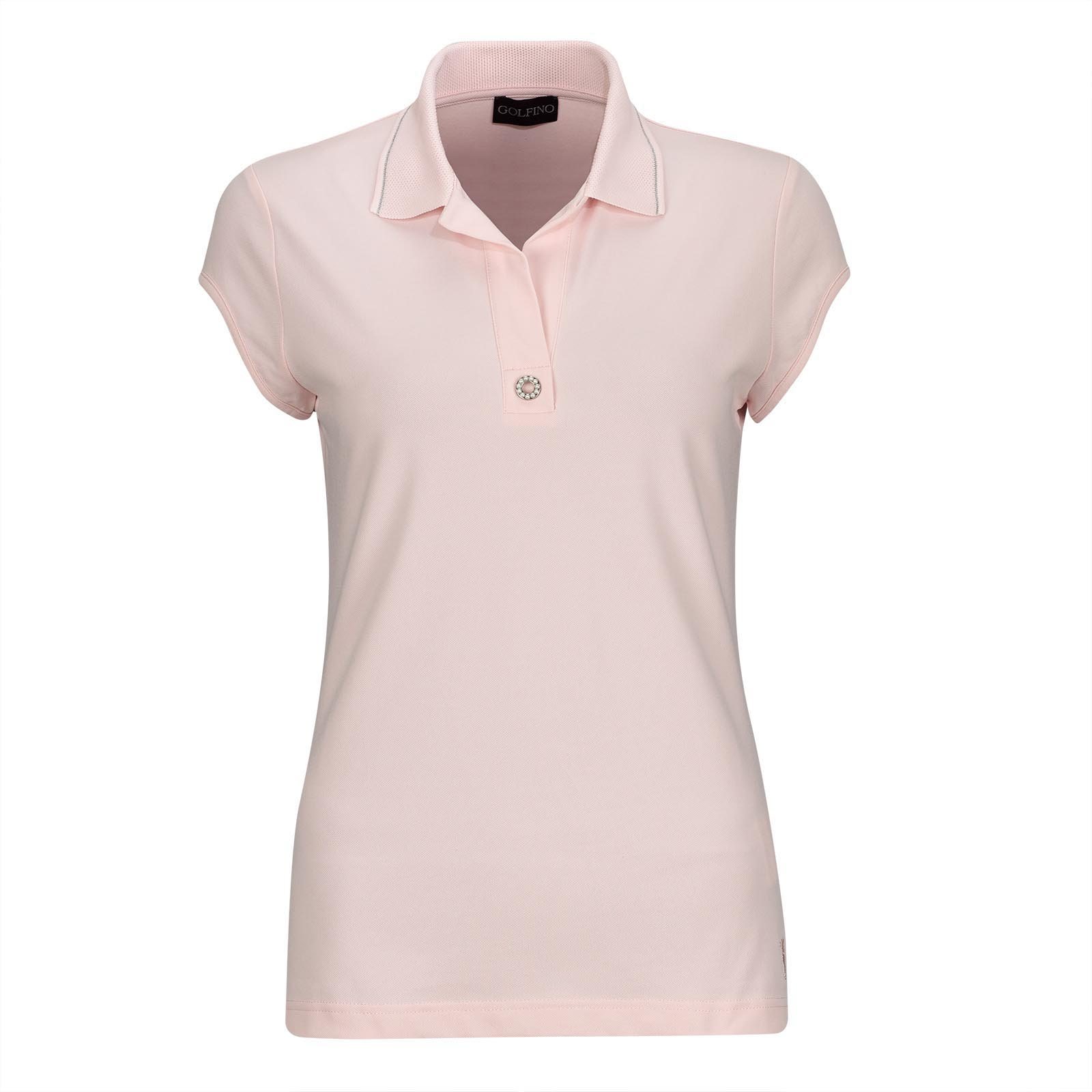 Ladies' short sleeve cotton blend golf polo with Sun Protection and pearl trim