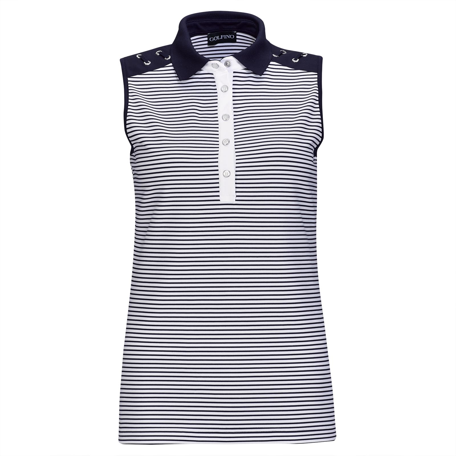 Ärmelloser Nautical Stripes Damen Golf-Troyer als trendstarker 1st-Layer