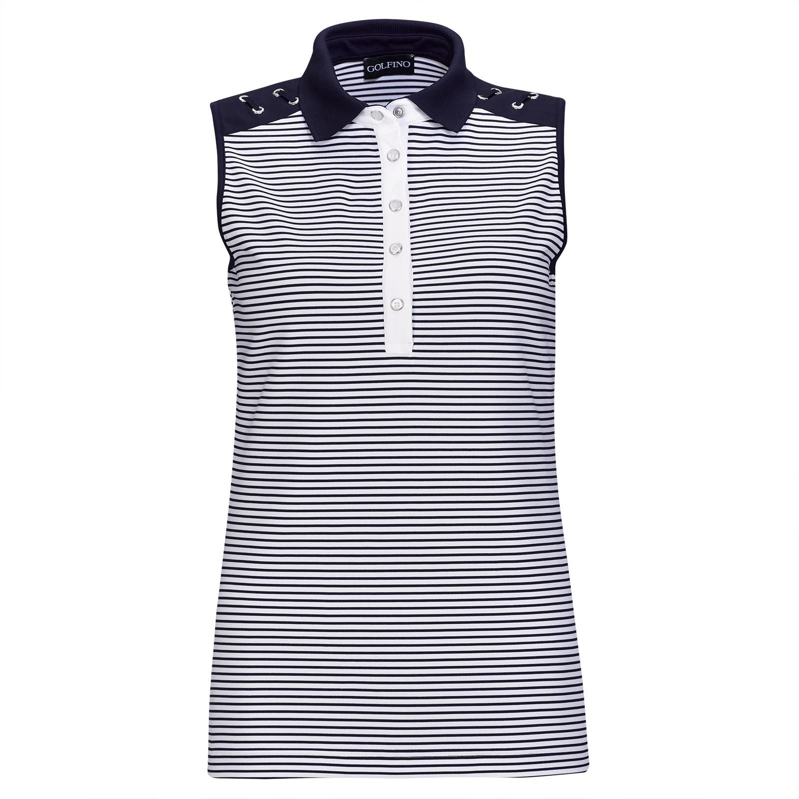 Ärmelloser Nautical Stripes Damen Golf-Troyer als trendstarker 1st-Layer