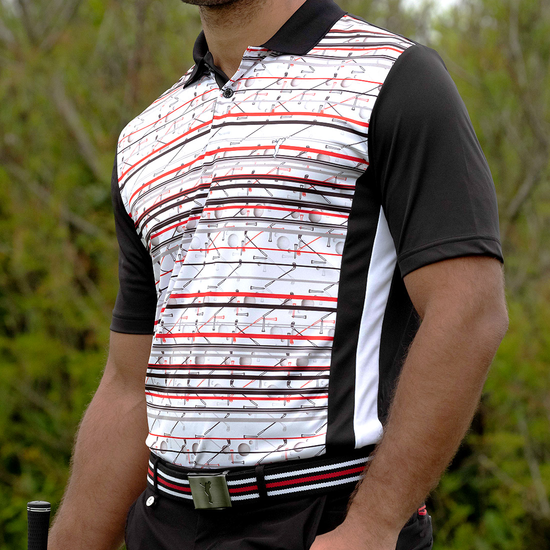 Men's moisture management golf polo with print & Silverplus ® Protection