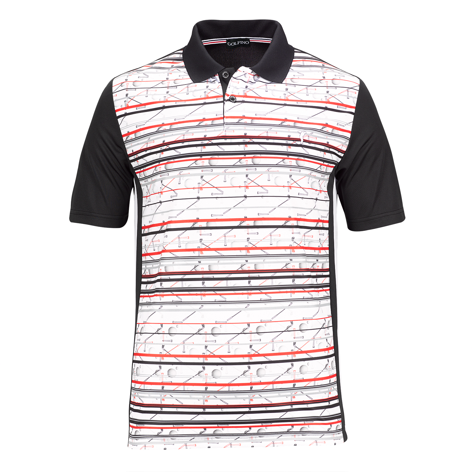 Herren Moisture-Management Golfpolo mit Statement Print & Silver Protection