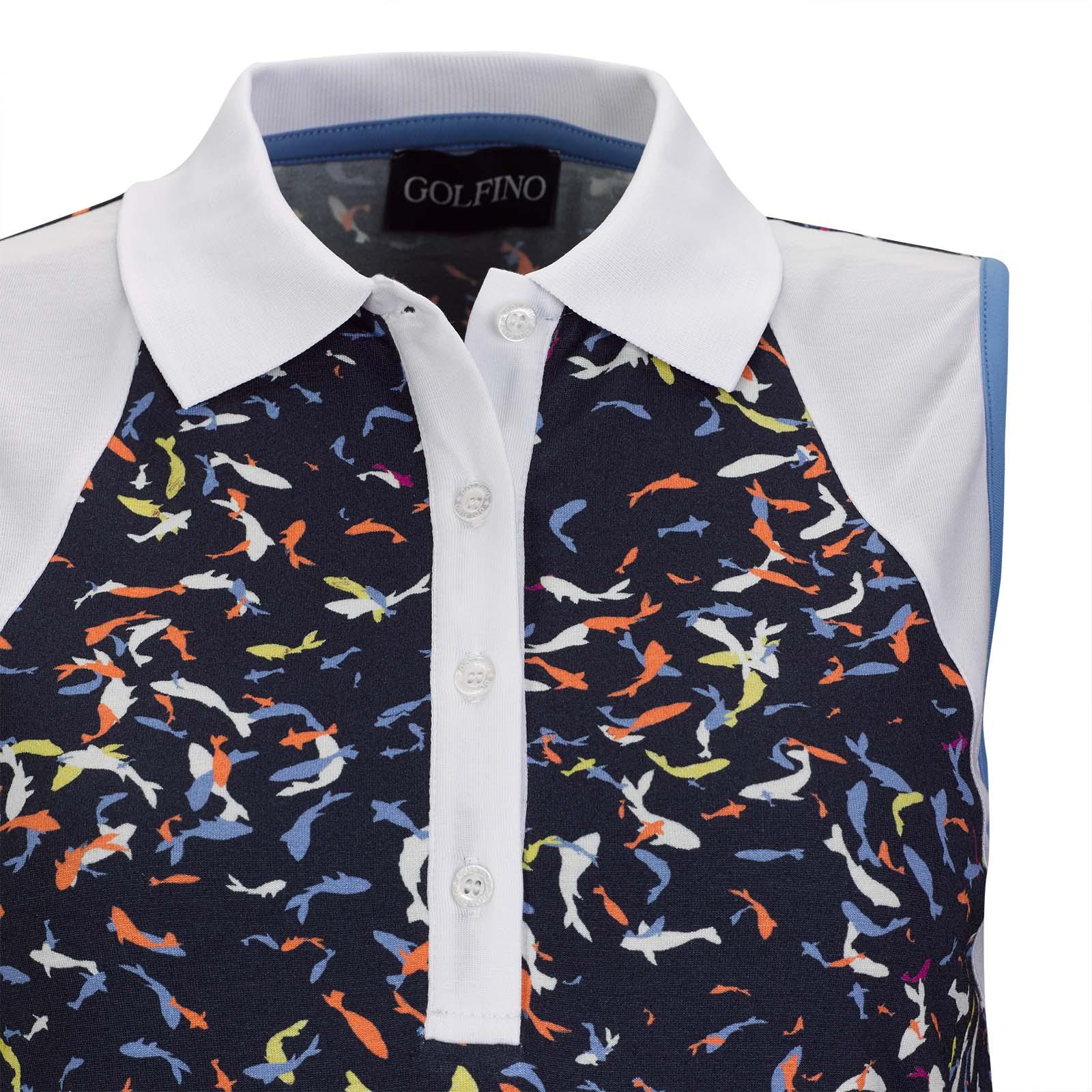 Ärmelloses Damen Stretch-Polohemd aus weicher Viskose mit Print