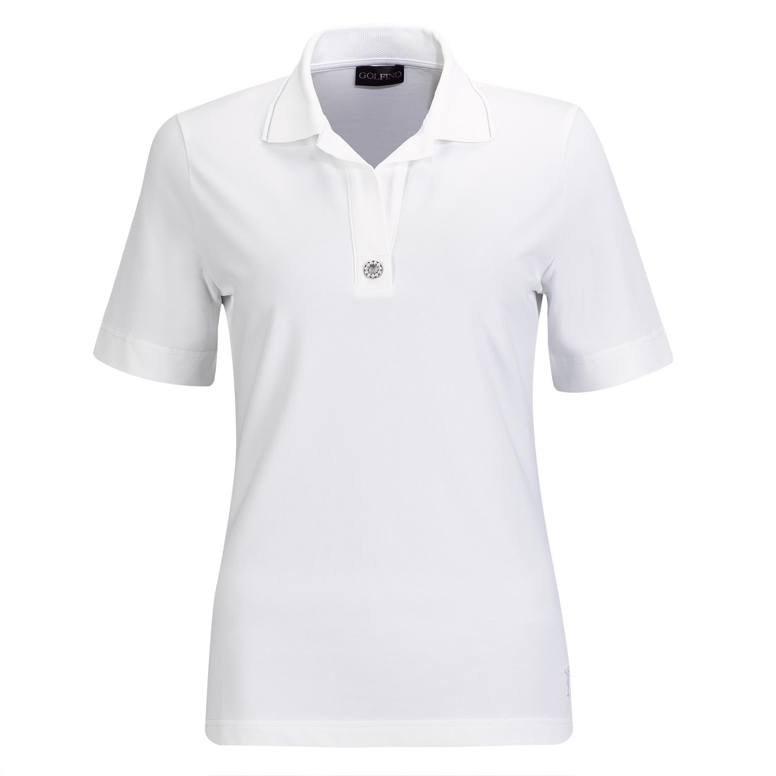 Ladies' short-sleeve cotton blend golf polo with stretch function and pearl trim