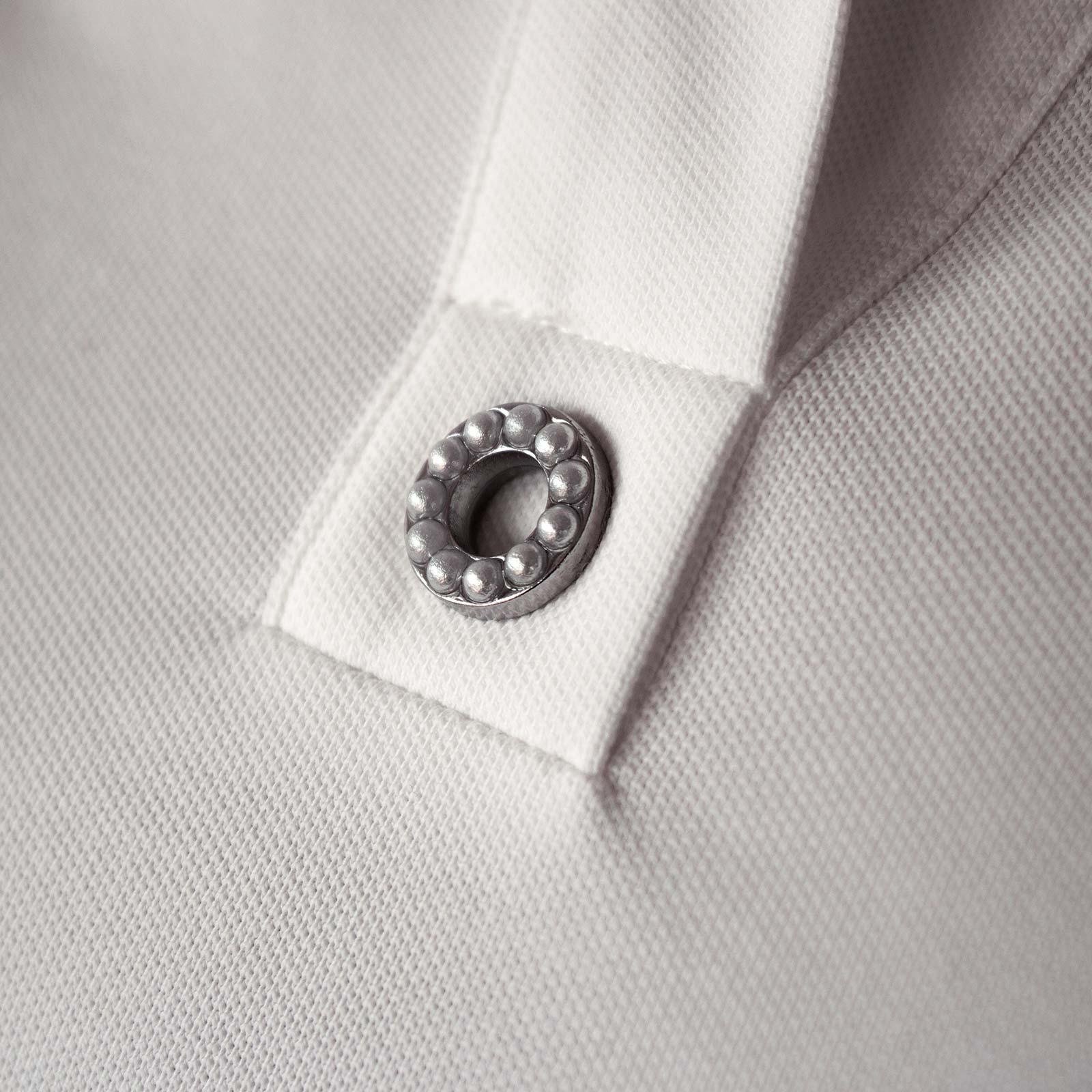 Damen Kurzarm Cotton-Blend Golfpolo mit Stretchfunktion und Perlenbesatz