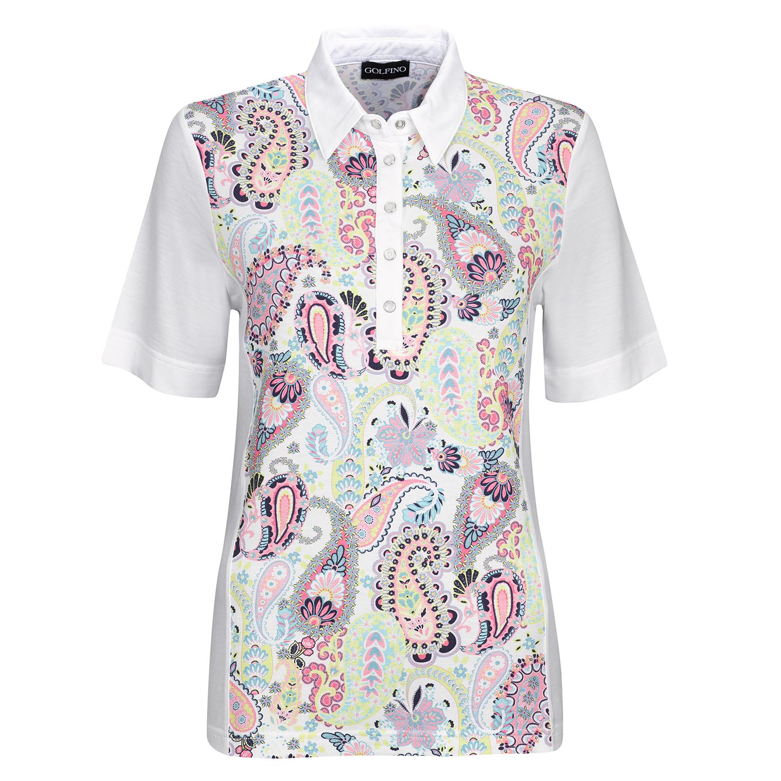 Short Sleeve Ladies' Golf Polo made from soft viscose mix with large print