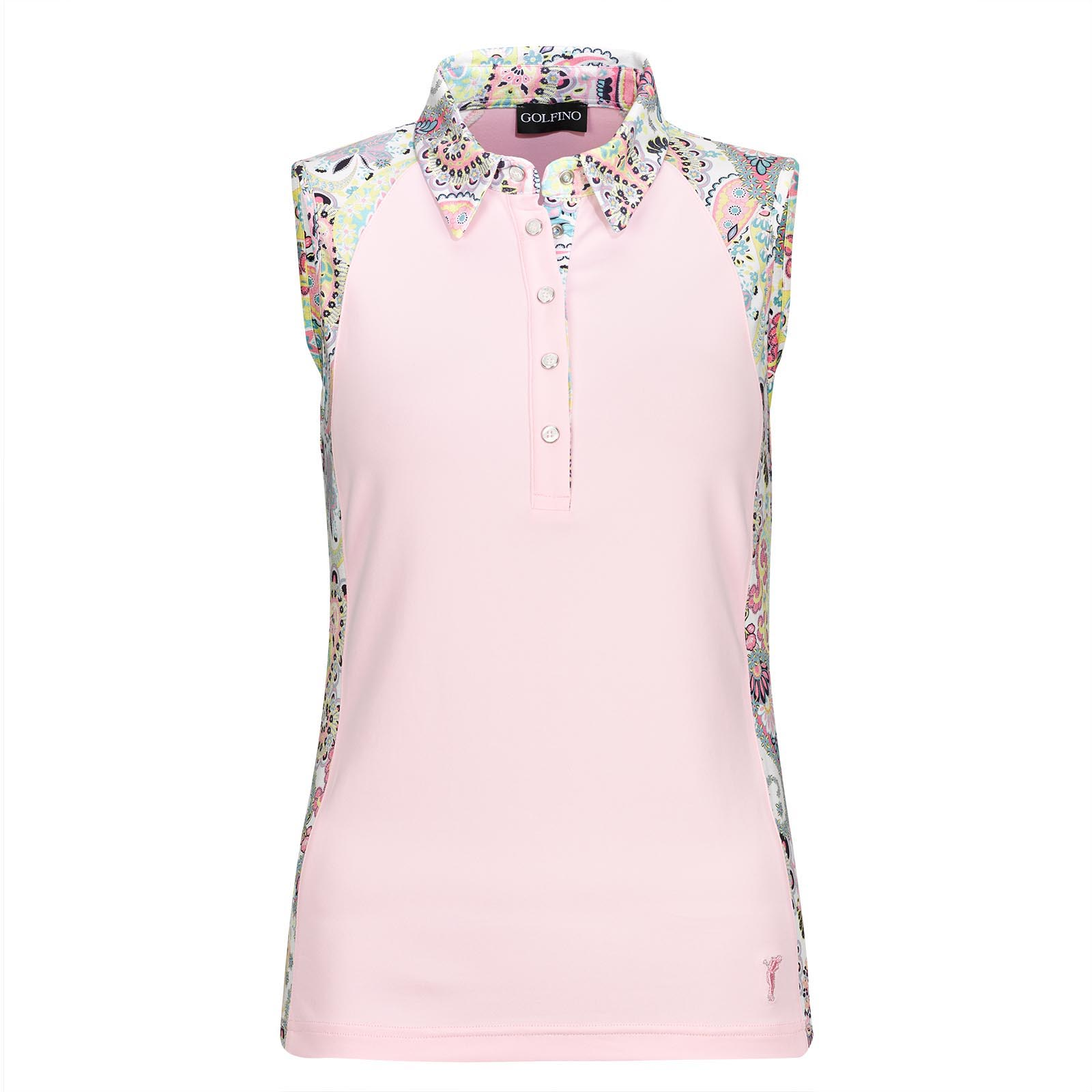 Sleeveless Stretch Ladies' Polo from Lycra mix with paisley print