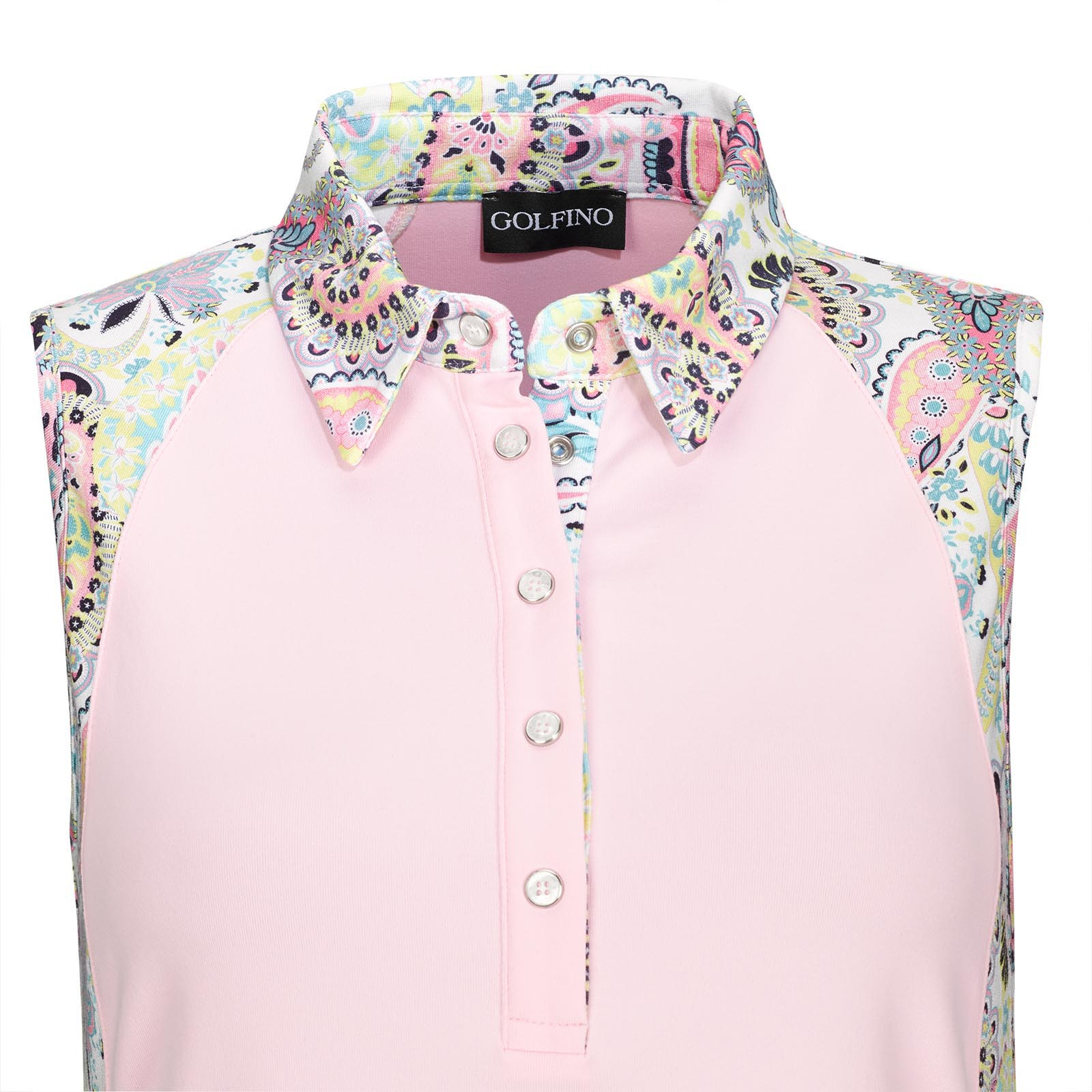 Ärmelloses Stretch Damen-Polohemd aus Lycra® Mix mit Paisley Print