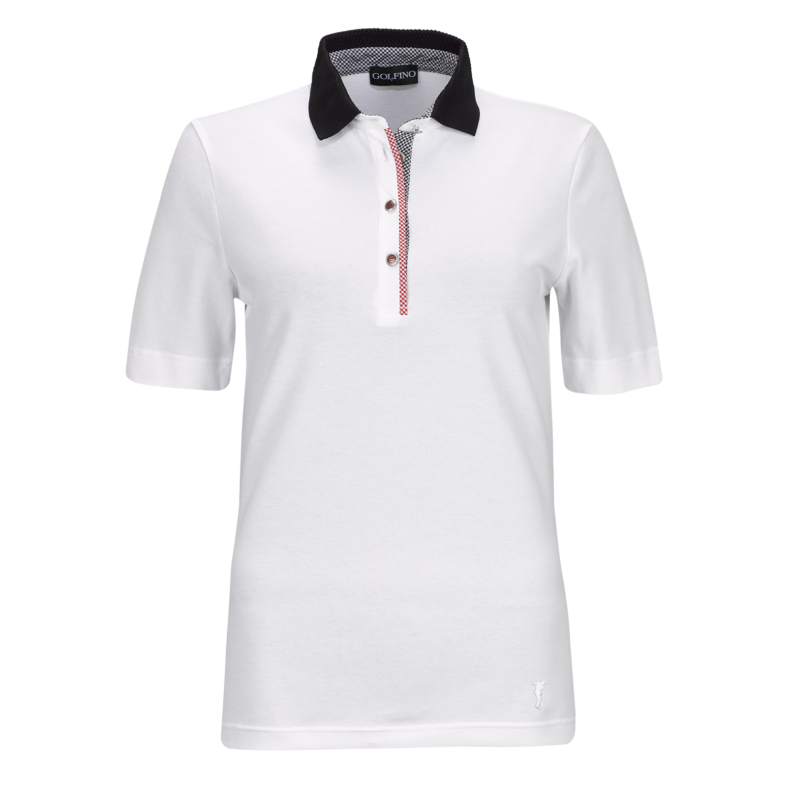 Damen Kurzarm Cotton Blend Golfpolo mit Vichy Muster und Stretchfunktion