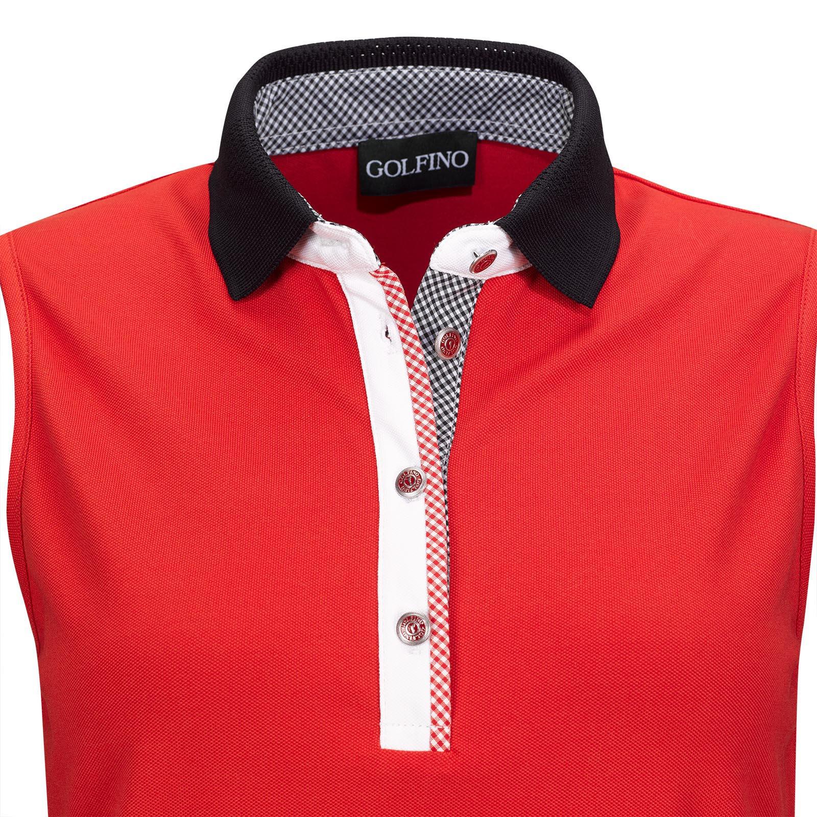 Ärmelloses Damen Funktions-Golfpolo mit UV-Schutz und Vichy Muster