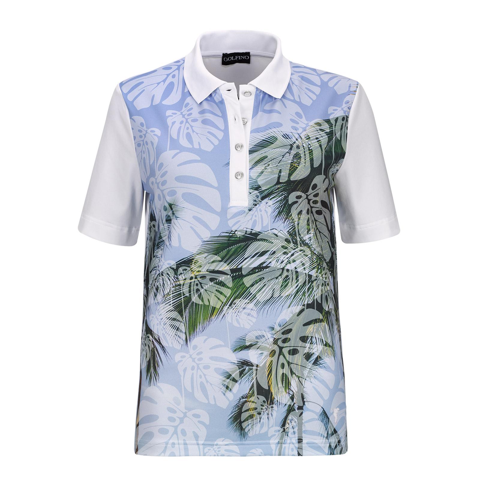 Palm Beach Damen Kurzarm Golfpolo mit großem Print und Stretchfunktion