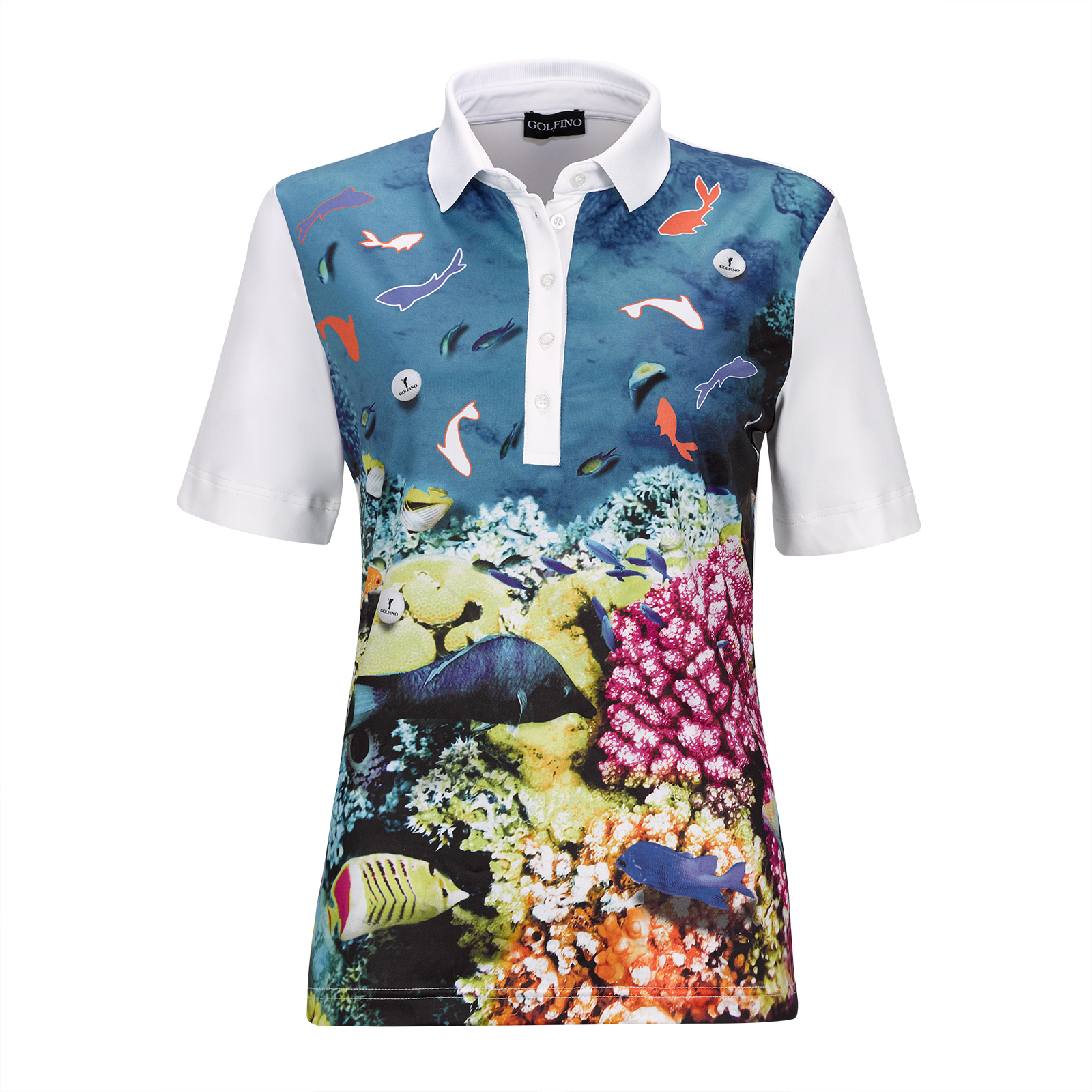 Under The Sea Ladies' Short Sleeve Polo with large print and stretch function