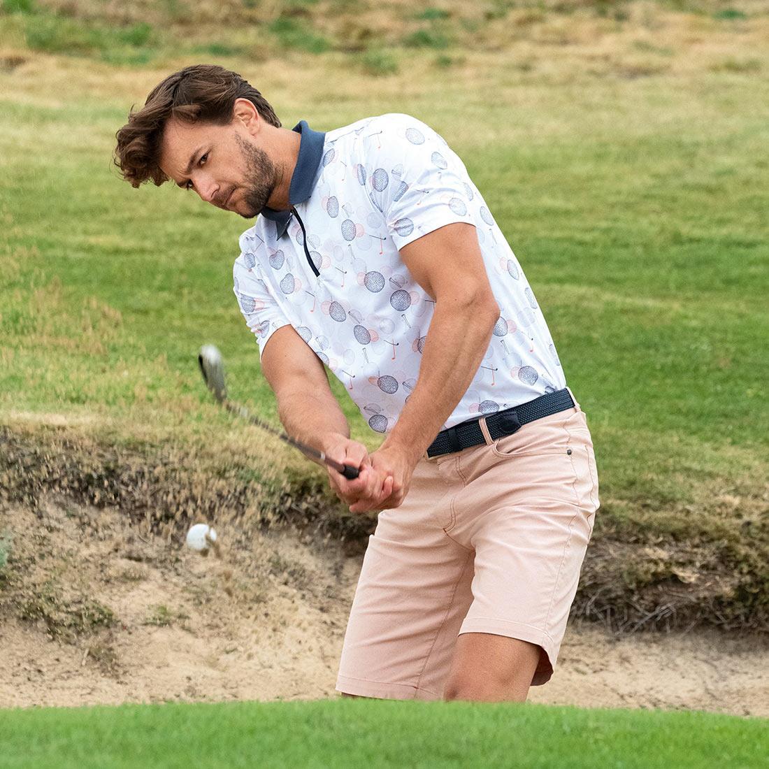 Premium Herren Kurzarm Funktions-Golfpolo mit Statement Golf-Motiv und Zip