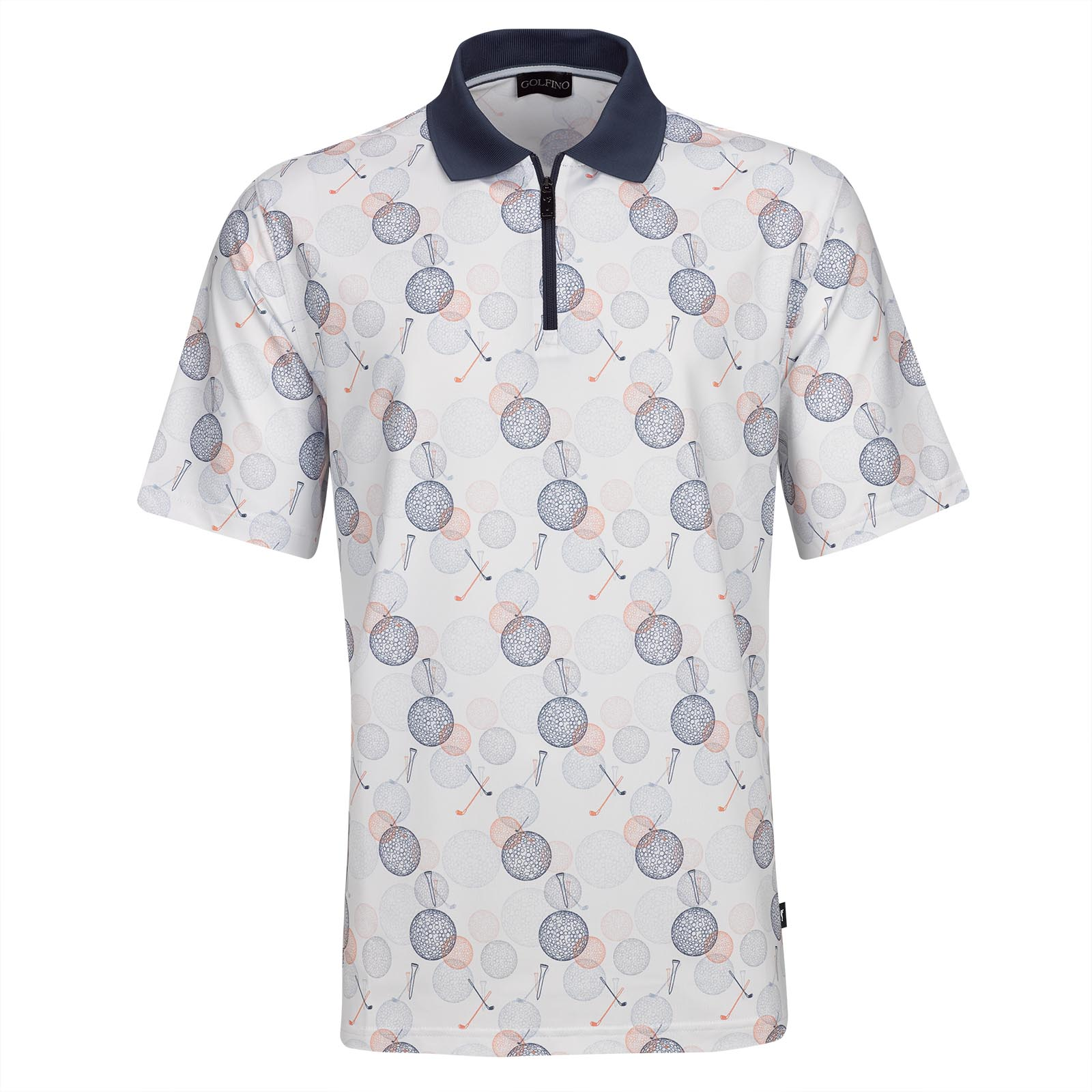 2e5682ed GOLFINO Premium men's short sleeve golf polo with function statement golf  motive and zip shop online | Golfino