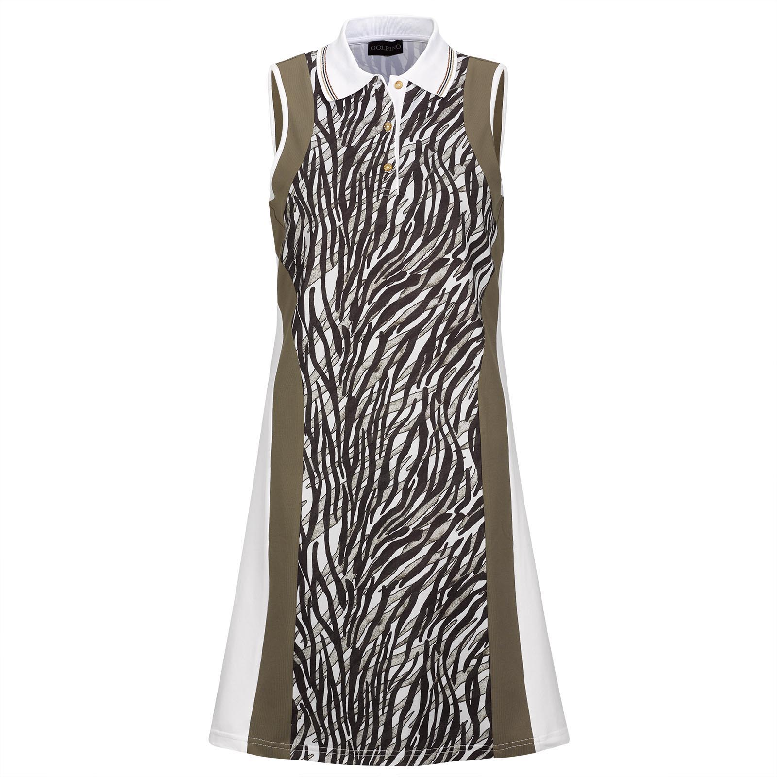 Sleeveless Ladies' Golf dress with print and elastic playability