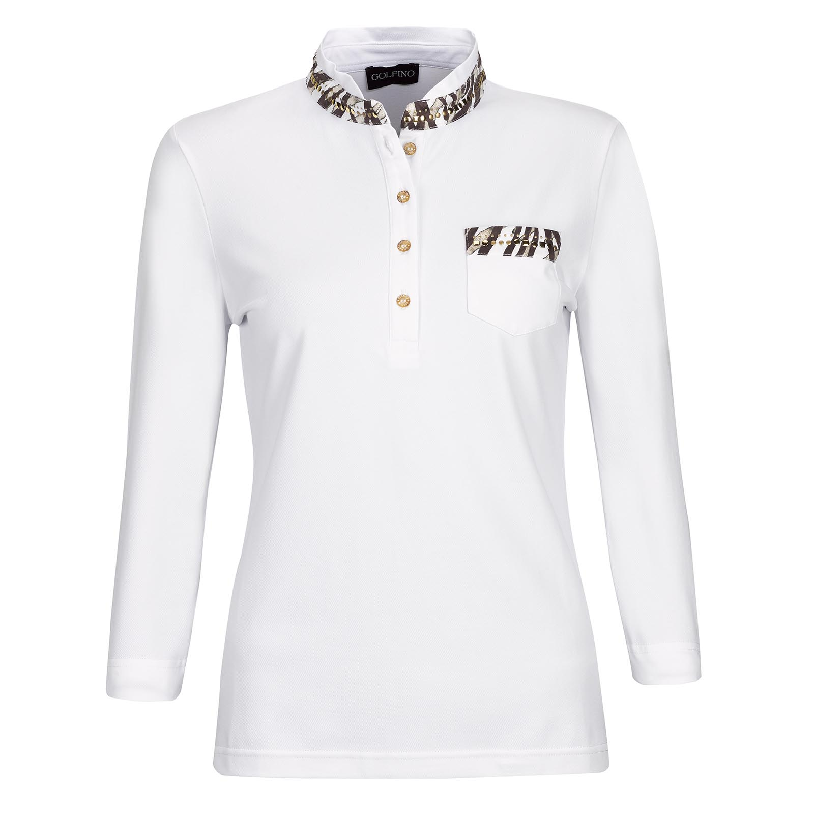 African Safari 3/4-Arm Damen Golfpolo mit Sun Protection und Metalldetails