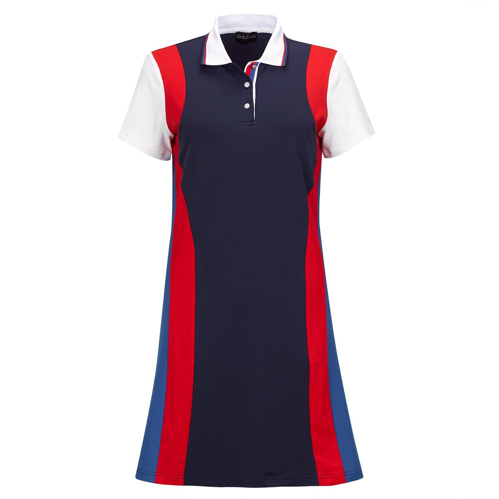 Vestido funcional de golf de manga corta de mujer en un look retro con Sun Protection