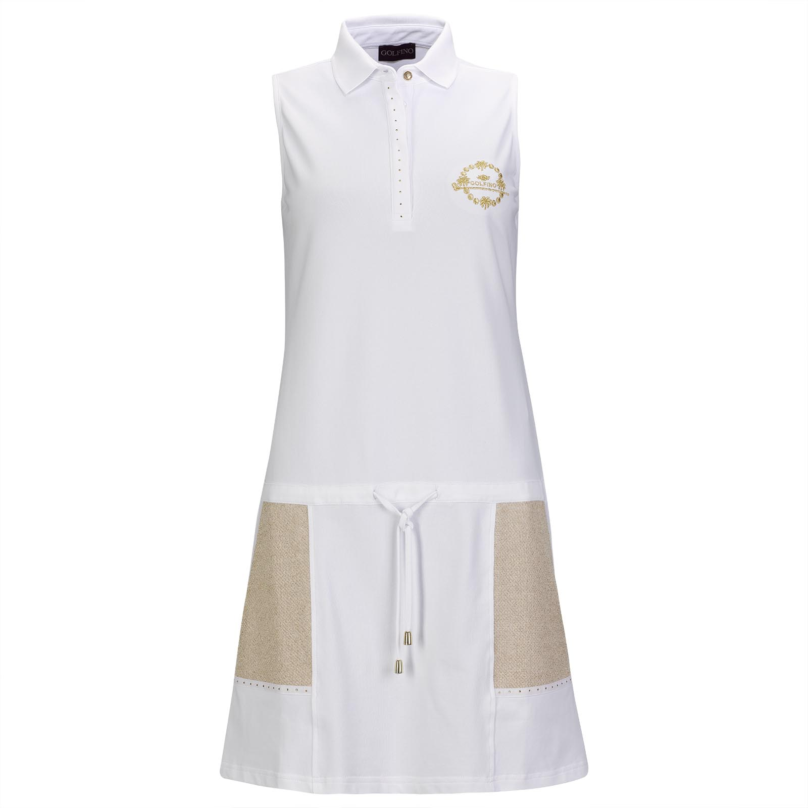 Damen Piqué-Golfkleid mit Sunprotection und Strassapplikationen