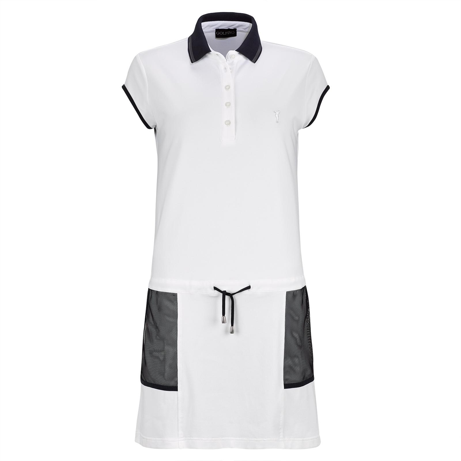 Trendiges Damen Piqué Golfkleid mit Sunprotection und Mesh-Applikationen